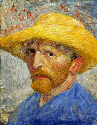 Self Portrait With Straw Hat by Vincent Van Gogh
