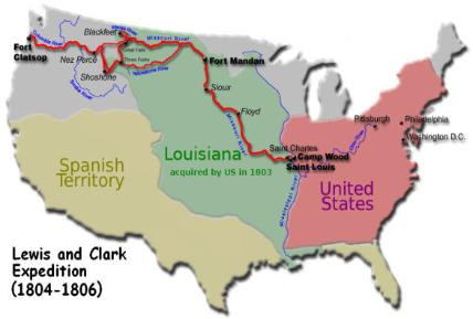 Map of the Louis and Clark Expedition to the Pacific Northwest