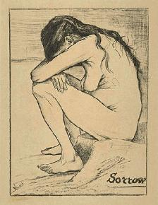 Sorrow by Vincent Van Gogh- Drawing of His Prostitute Girl Friend